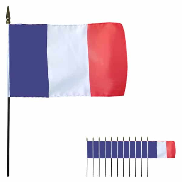 Frankreich Hand Tuch Flagge 6 x 4 Zoll - Packung mit 12