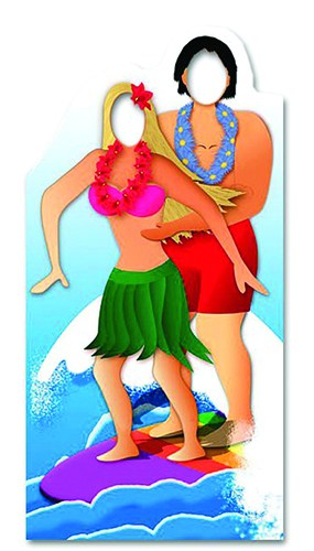 Hawaiian Surfing Couple Stand inPappeCutout