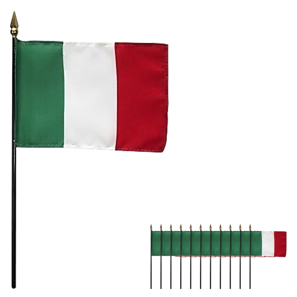 Italien Hand Tuch Flagge 6 x 4 Zoll - Packung mit 12