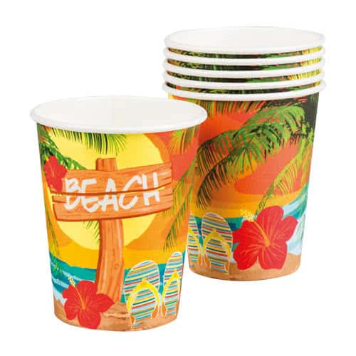 Strand Party Pappbecher 250 Ml - Packung Mit 6