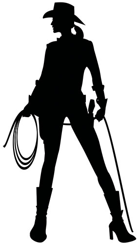 Cowgirl Silhouette Pvc Lebensgroße Poster 182Cm