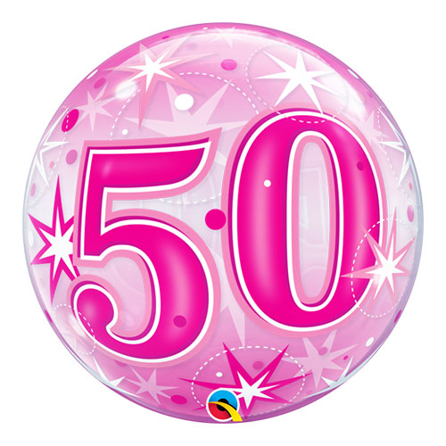 Nummer 50 Pink Starust Sparkle Bubble Helium Qualatex Ballon 56 Cm