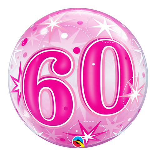 Nummer 60 Pink Starust Sparkle Bubble Helium Qualatex Ballon 56 Cm