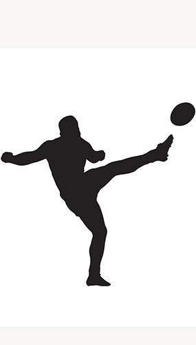 Rugby-Spieler Ball Side Kick Silhouette Pvc Lifesize-Poster 182Cm
