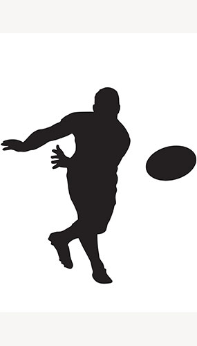 Rugby-Spieler Ball Werfen Silhouette Pvc Lifesize-Poster 182Cm