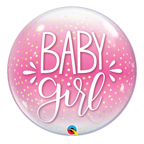 Baby Mädchen Konfetti Punkte Baby Shower Bubble Helium Qualatex Ballon 56Cm / 22 In
