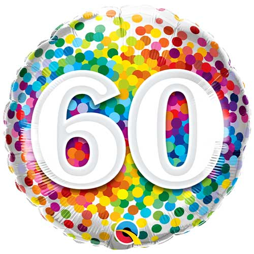 60th Birthday Rainbow Confetti Round Foil Helium Qualatex Balloon 46cm / 18 in