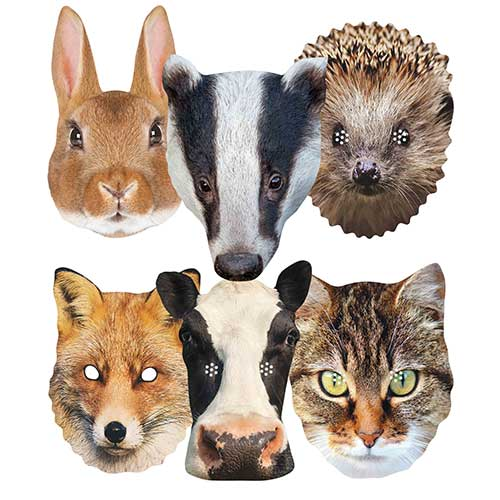 British Countryside Animals Cardboard Face Masks - Pack of 6