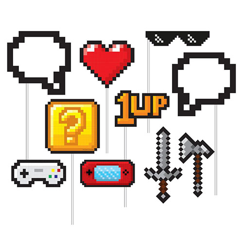 Gaming Party Photo Booth Requisiten - 10Er Pack